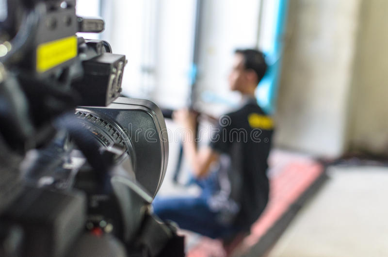 Video Camera has focus stock photo