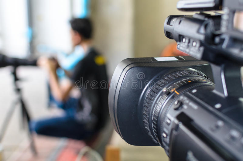 Video Camera has focus stock photos