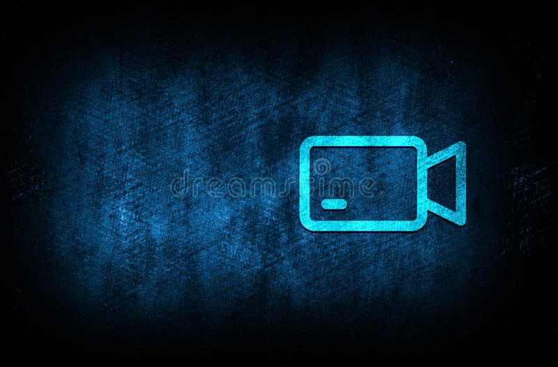Video camera icon abstract blue background illustration digital texture design concept. Video camera icon abstract blue background illustration dark blue digital royalty free illustration