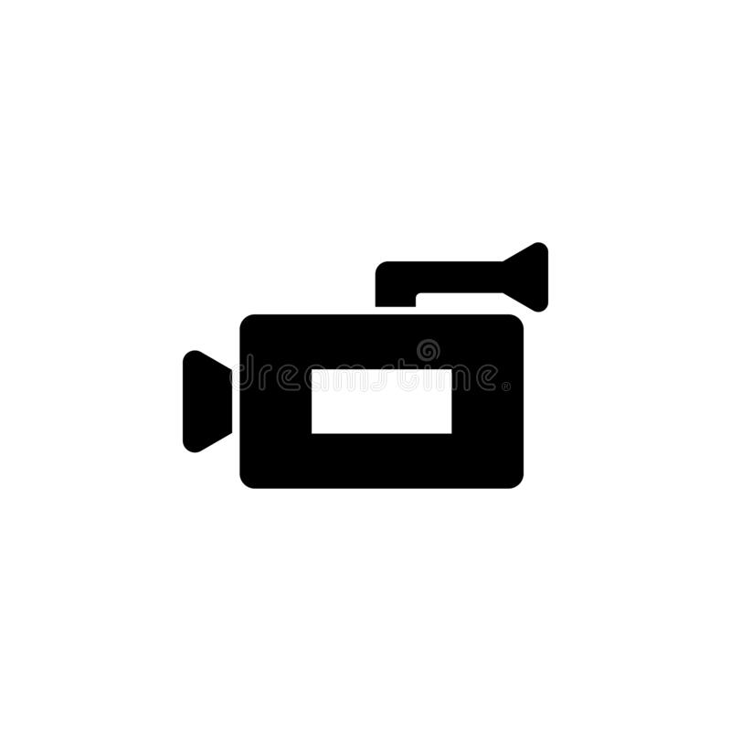 Video camera icon. Simple glyph vector of universal set icons for UI and UX, website or mobile application. On white background stock illustration