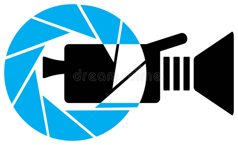 Video camera logo. Isolated line art work
