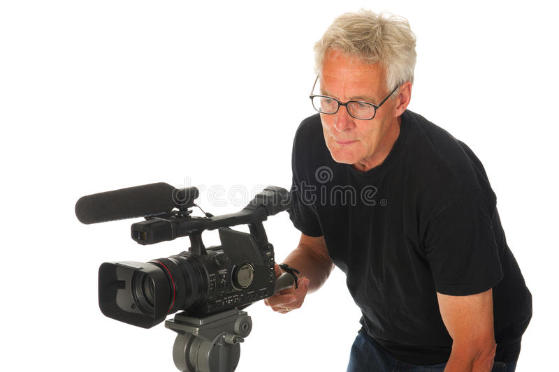 Video camera man. Professional video camera man on white background stock photos