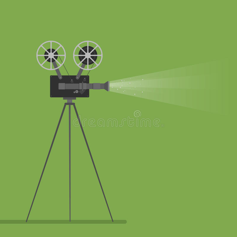 Video camera movie film reel going to cinema icon. Colorful illustration. Vector graphic.  royalty free illustration