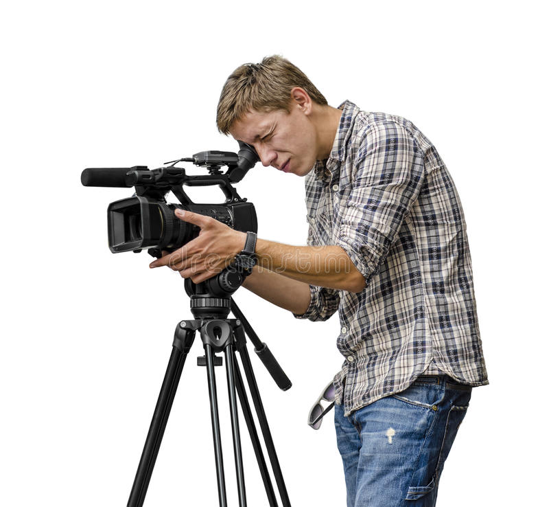 Video camera operator. Working with his professional equipment isolated on white background stock photography
