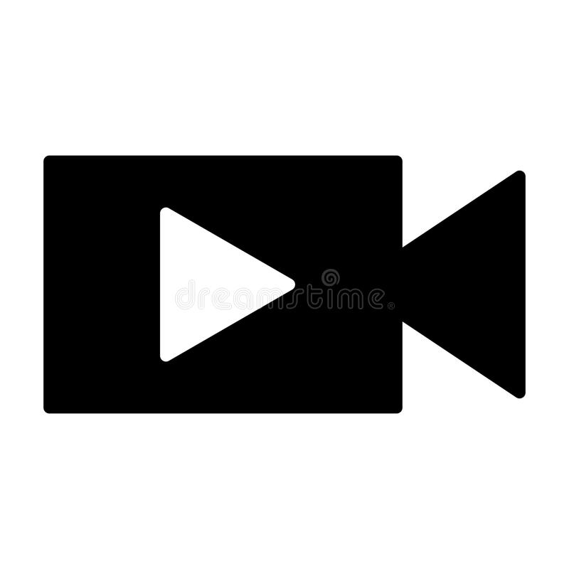 Video camera with play button silhouette icon. Vector illustration vector illustration