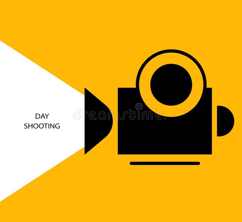 Video camera record glow yellow. Flat design. Invitation, advertising, background. Silhouette of a video camera recording on a yellow background. Day shot stock illustration