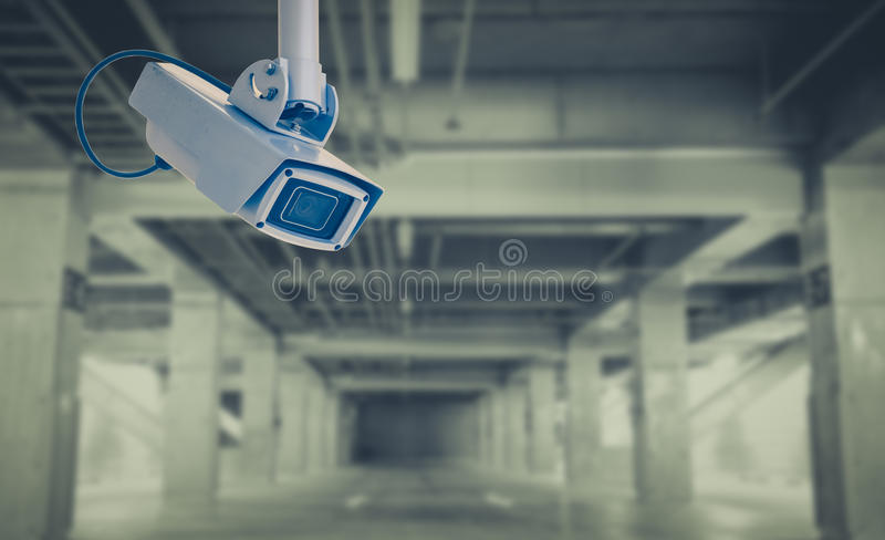 Video camera security system. At car parking royalty free stock image