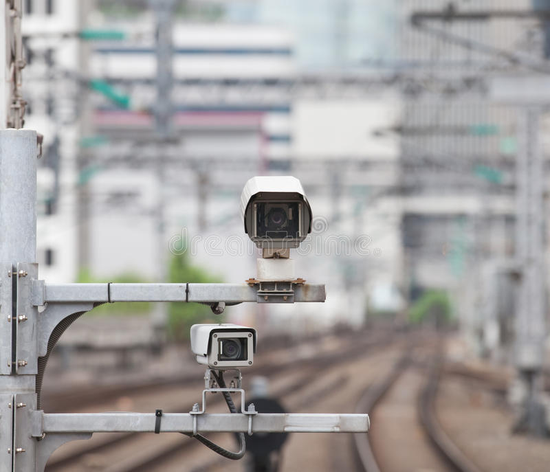 Video camera security system. At train station royalty free stock photos