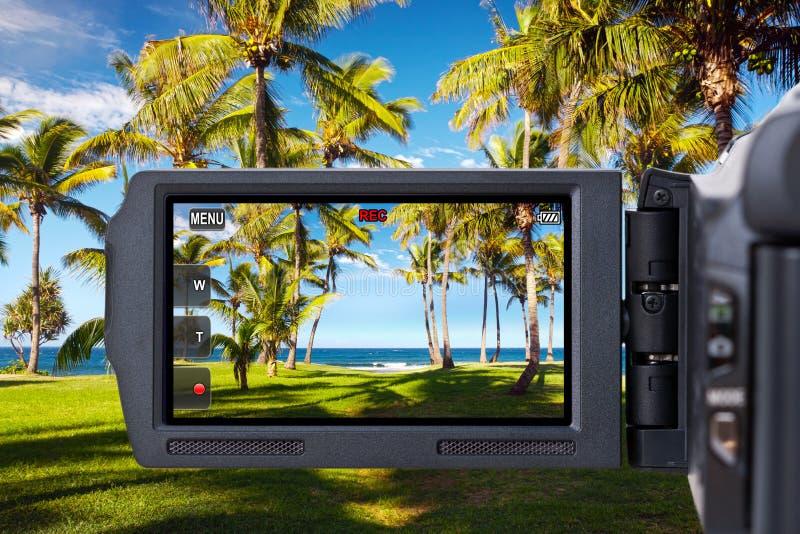 Video camera on tropical beach royalty free stock photos