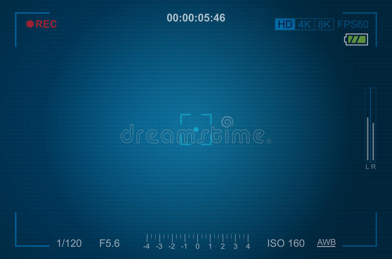 Video camera viewfinder template. With exposure and camera settings vector illustration