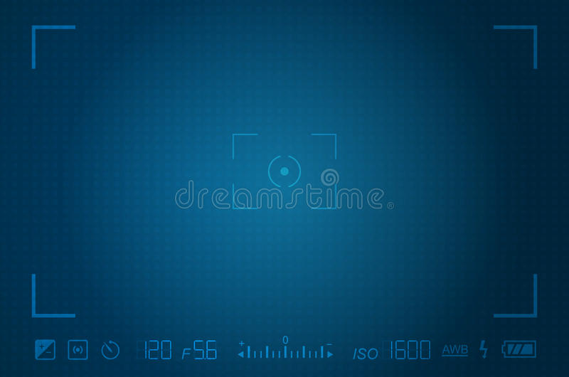 Video camera viewfinder template. With exposure and camera settings stock illustration