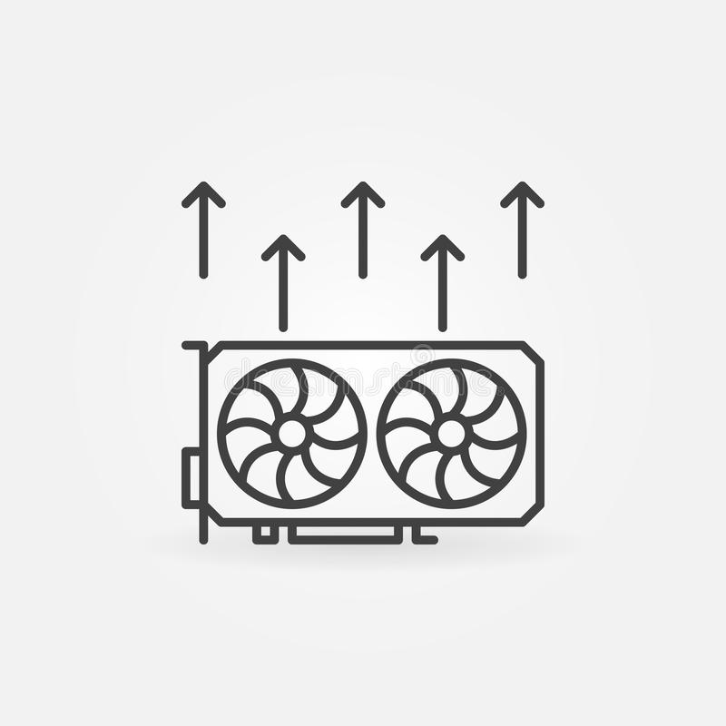 Video card mining icon - vector cryptocurrency GPU mining concept stock illustration
