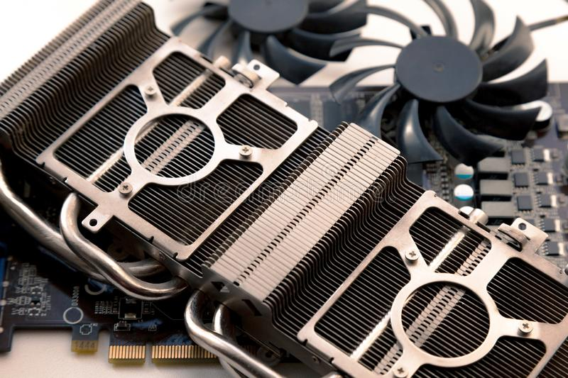 Video card radiator and fan with heatsink close up royalty free stock photo