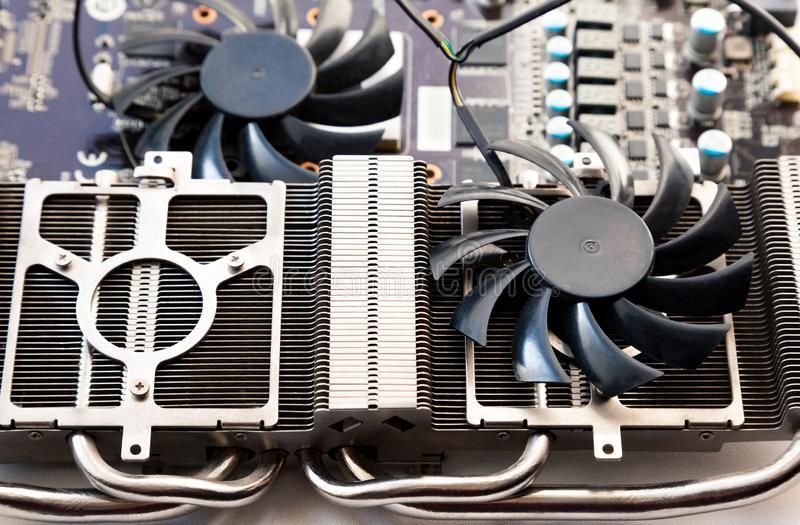 Video card radiator and fan with heatsink close up royalty free stock images