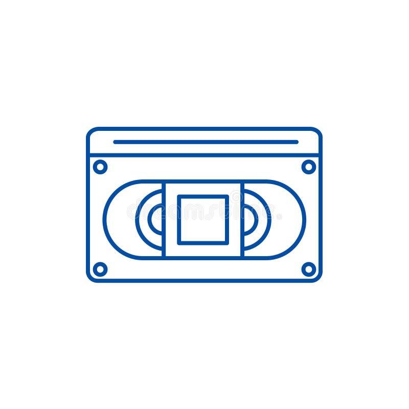 Video-cassete Linie Ikonenkonzept Video-cassete flaches Vektorsymbol, Zeichen, Entwurfsillustration lizenzfreie abbildung