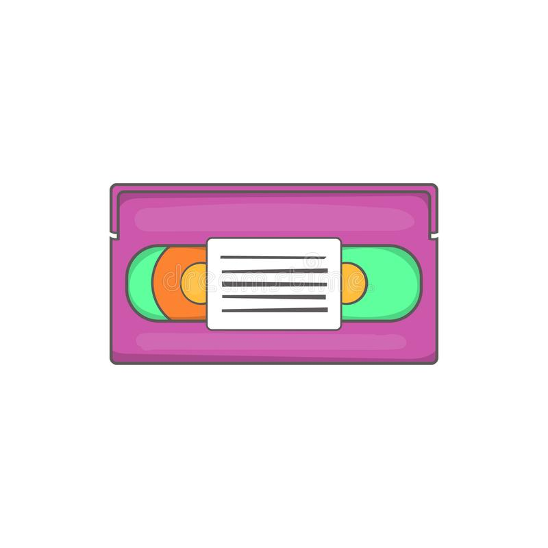 Video cassette icon, cartoon style. Video cassette icon in cartoon style isolated on white background. Film symbol vector illustration