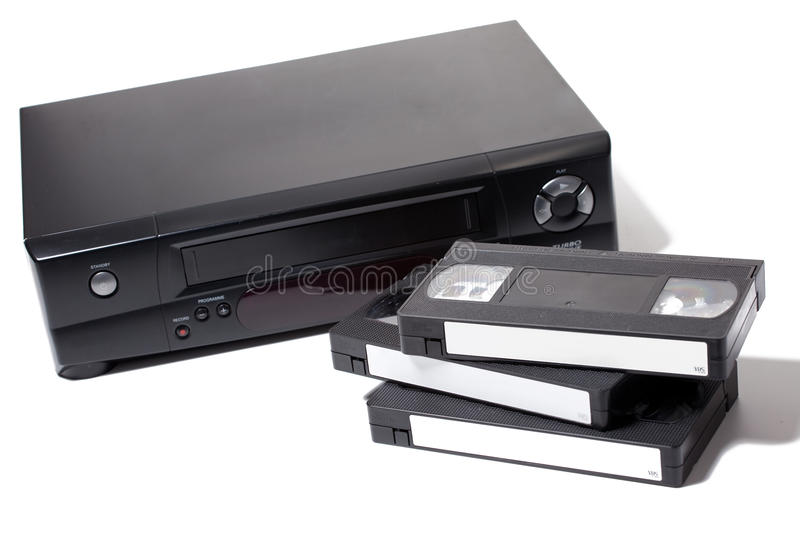 Video cassette recorder. Isolated on white background stock photography