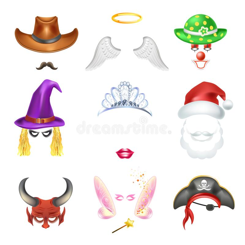 Video Chat Funny Face Effect Flat Funny Icons Templates Set Stock ...