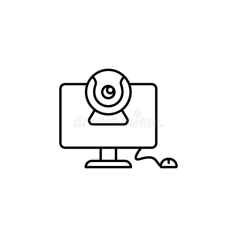 Video chat, icona di comunicazione Icona della linea sottile di comunicazione illustrazione vettoriale