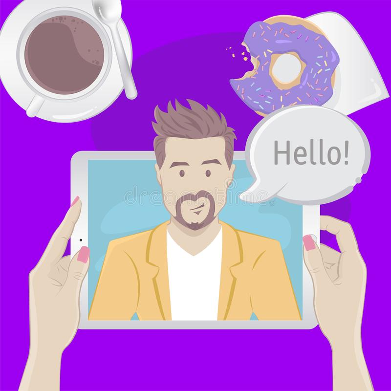 Video chat with a man. Breakfast top view concept stock illustration