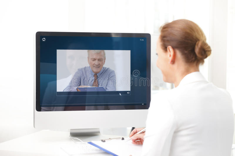 Video chat in office stock photo
