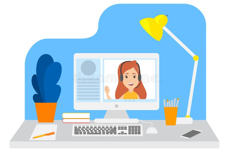 Video chat with young girl vector illustration