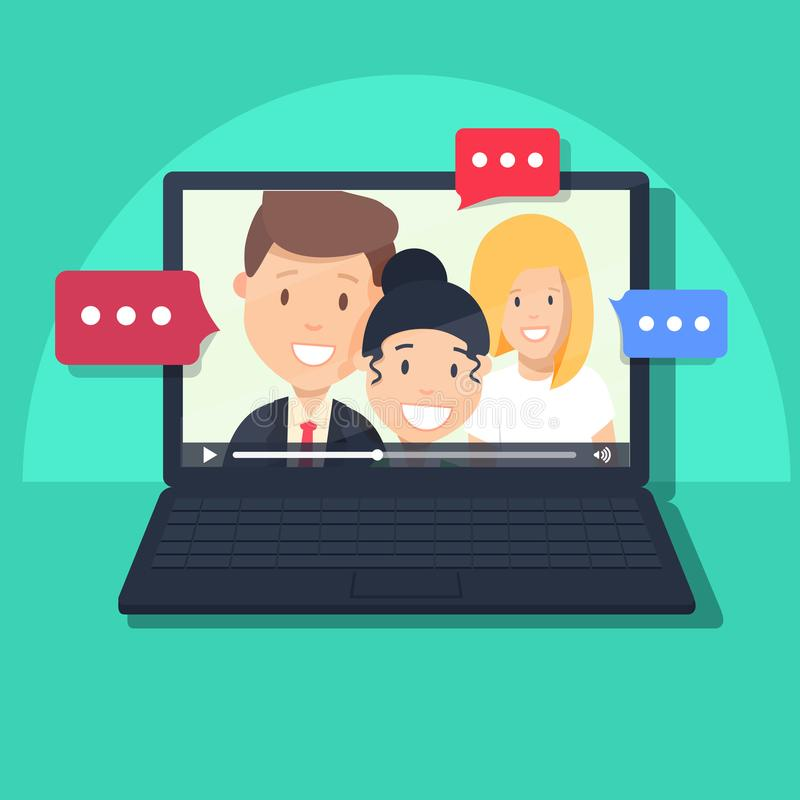 Video chatting online on computer vector illustration, flat cartoon video player window with speaking girls and boy. Video chatting online on computer vector stock illustration