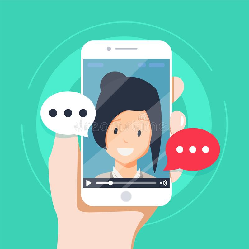 Video chatting online on smartphone vector illustration, flat cartoon video player window with speaking happy girl. And bubble speeches messages on phone stock illustration
