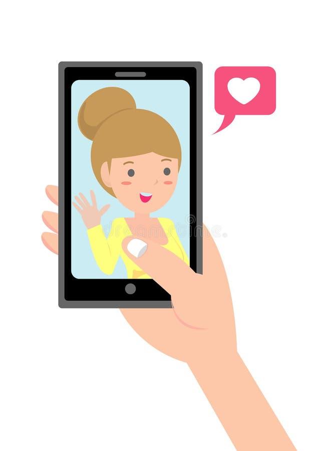 Video chiamata con il caro E Datazione online illustrazione vettoriale