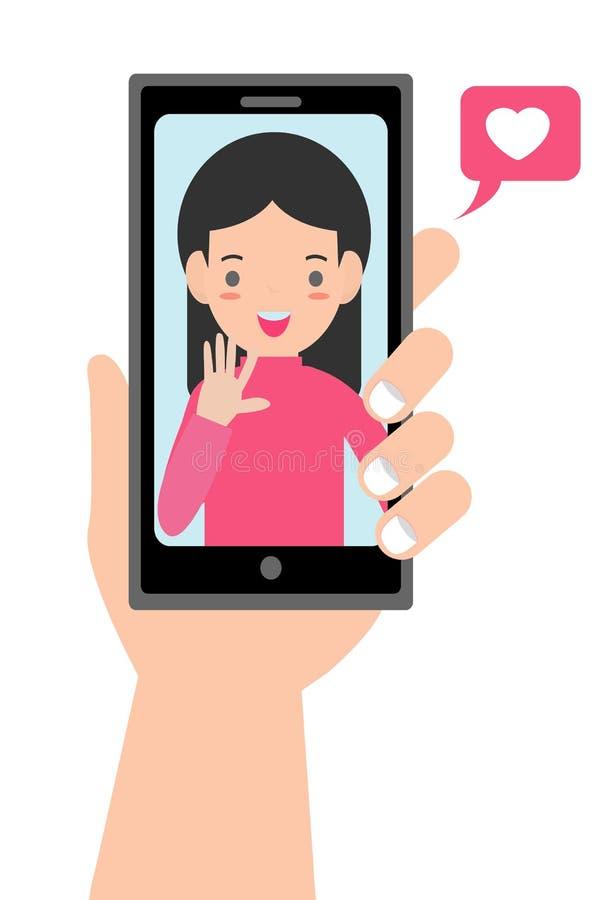 Video chiamata con il caro E Datazione online illustrazione di stock