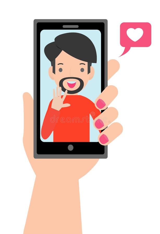 Video chiamata con il caro Smartphone femminile della tenuta della mano con il ragazzo sullo schermo Datazione online royalty illustrazione gratis