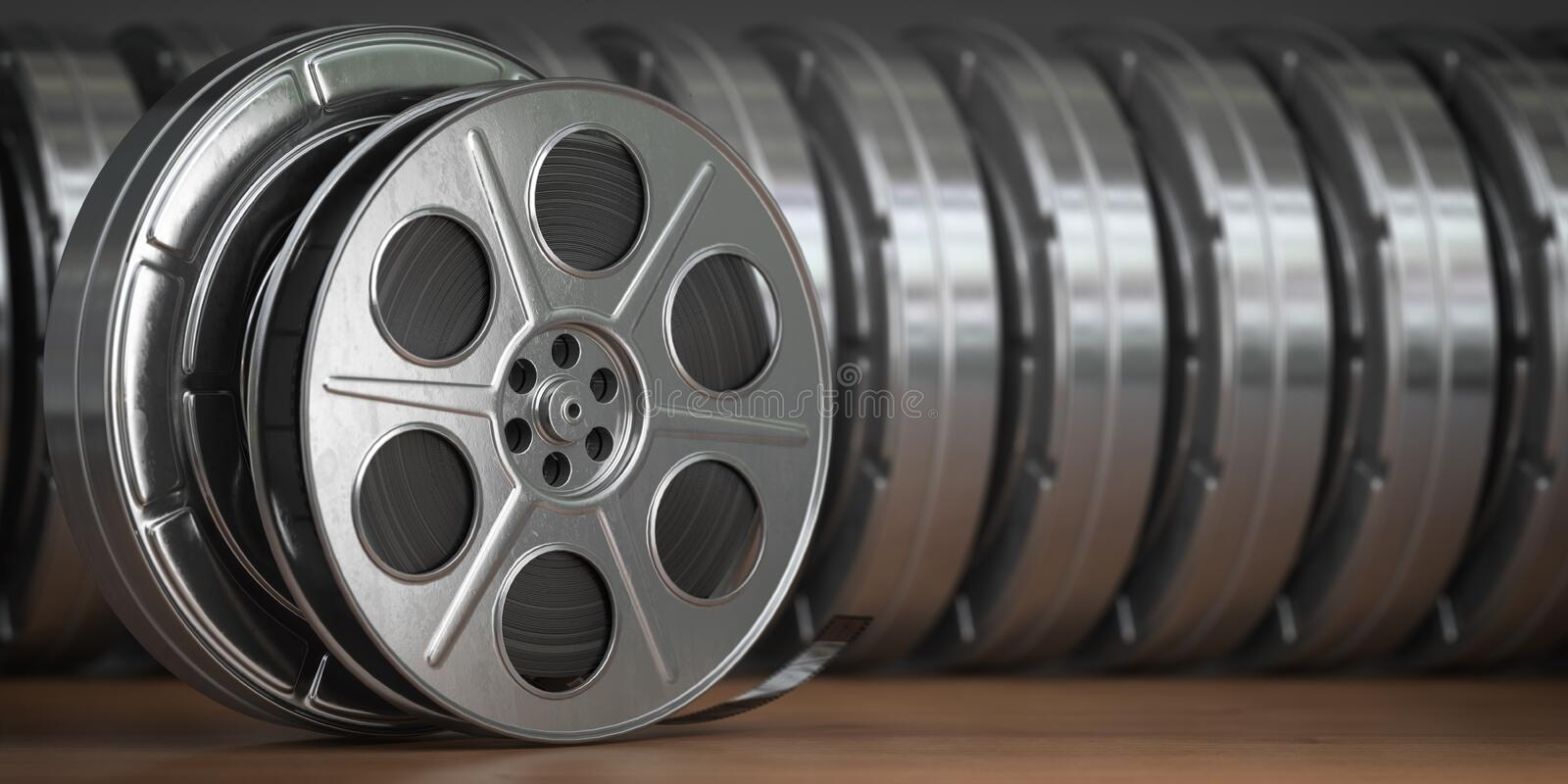 Video, cinema, movie, multimedia concept. A row of vintage film reel or film spools with filmstrip. 3d illustration stock illustration