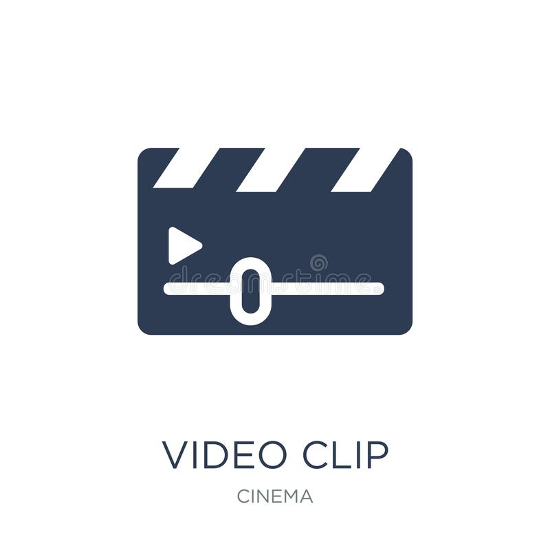 Video Clip icon. Trendy flat vector Video Clip icon on white background from Cinema collection. Vector illustration can be use for web and mobile, eps10 royalty free illustration