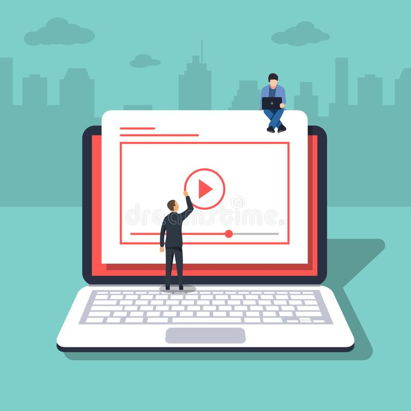 Video concept illustration of young people. Laptop or notebook. Flat design of guys staying near big player symbol. Video concept illustration of young people royalty free illustration