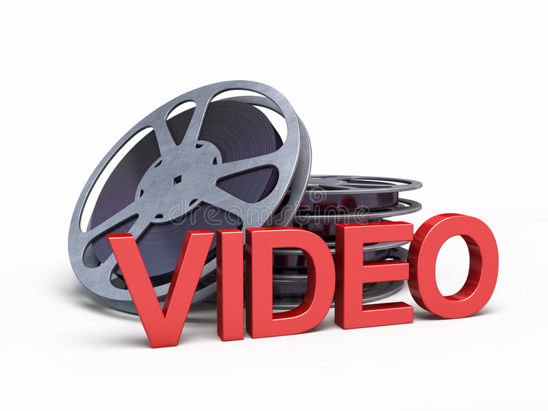 Video concept symbol. Film reel strip and video icon (clipping path and on white royalty free illustration
