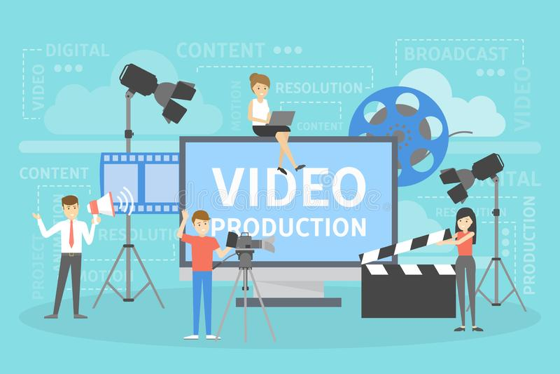 Video concetto di produzione Fabbricazione del contenuto di rappresentazione per i media sociali illustrazione di stock