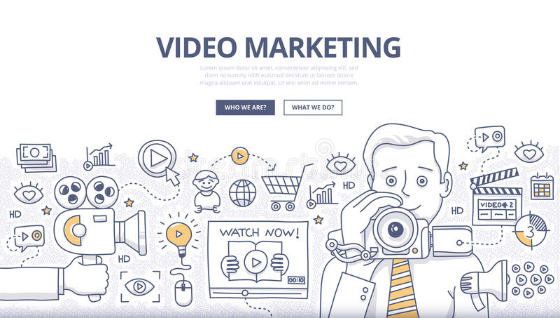 Video concetto di scarabocchio di vendita illustrazione vettoriale