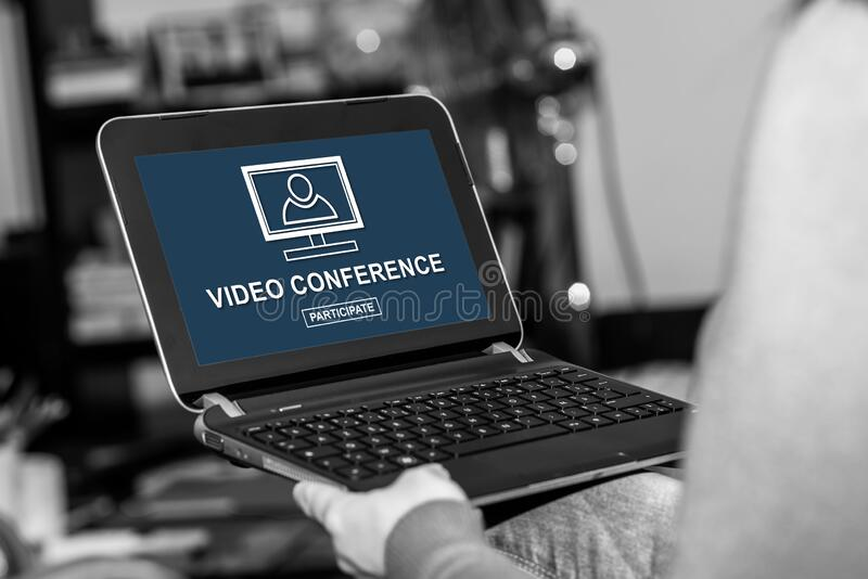 Video conference concept on a tablet. Tablet screen displaying a video conference concept royalty free stock image