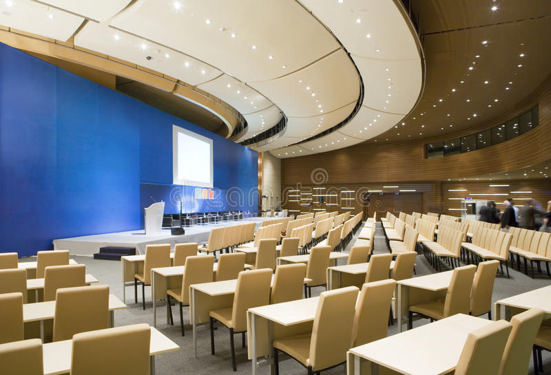 Video conference hall, wide-angle overview. stock photo