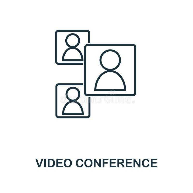 Video Conference icon. Monochrome style design from visual device icon collection. UI. Pixel perfect simple pictogram video confer. Video Conference icon stock illustration