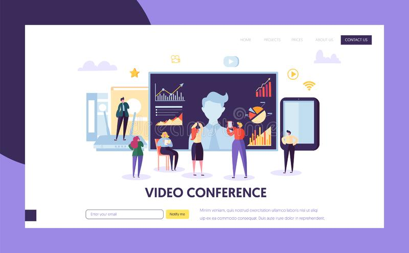 Video conference landing page template. Business royalty free illustration