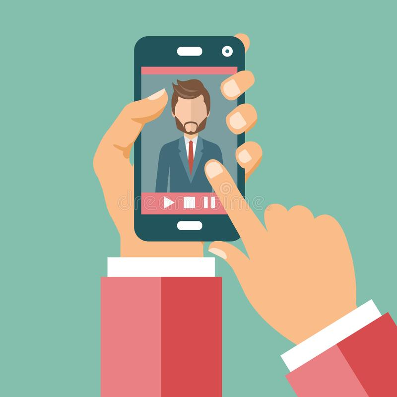 Video conference on line call concept. Hands holding smart ph vector illustration