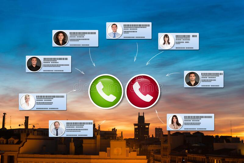 Video conference in Madrid stock photos