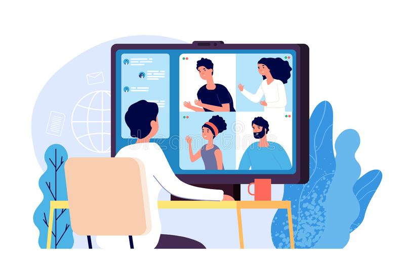 Video conference. People group on computer screen taking with colleague. Video conferencing and online communication. Vector concept. Illustration of vector illustration
