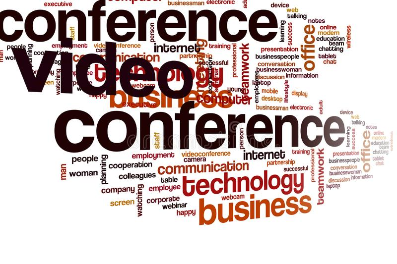 Video conference  word cloud. Video conference word cloud concept royalty free stock images