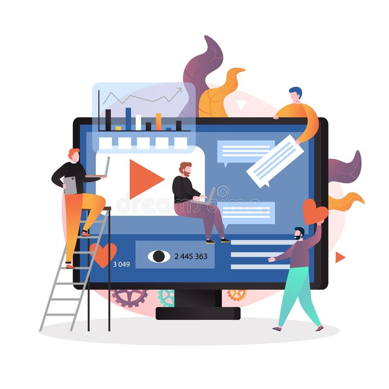 Video content marketing strategy vector concept illustration stock illustration
