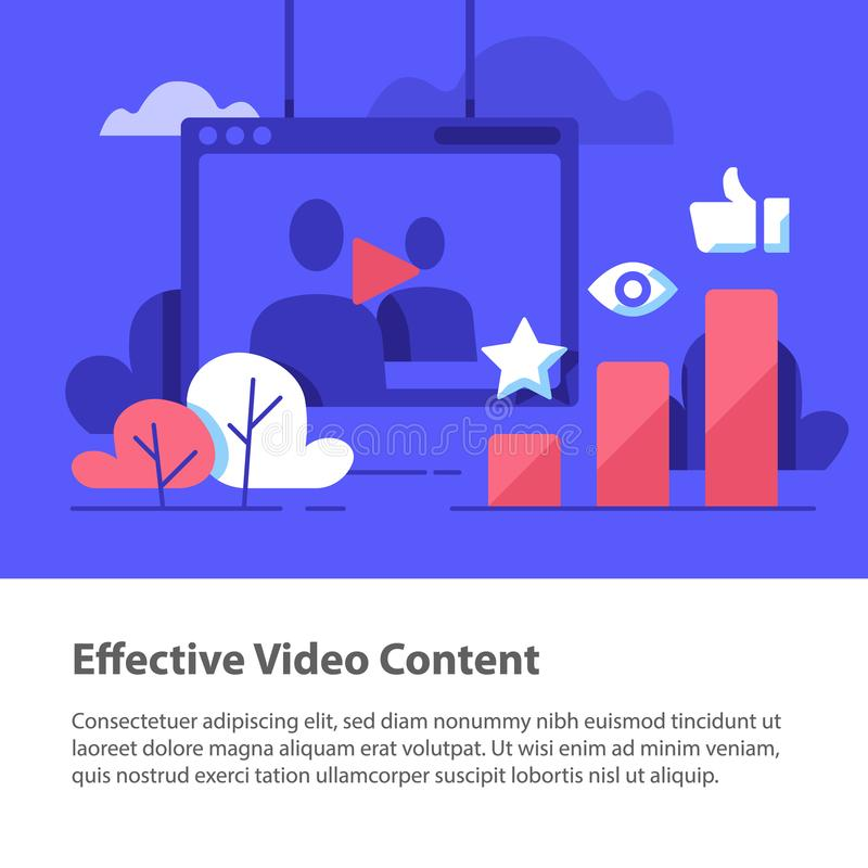 Video content, production and promotion, online film watching, more likes and views. Video content, vlog concept, production and promotion, entertainment online royalty free illustration