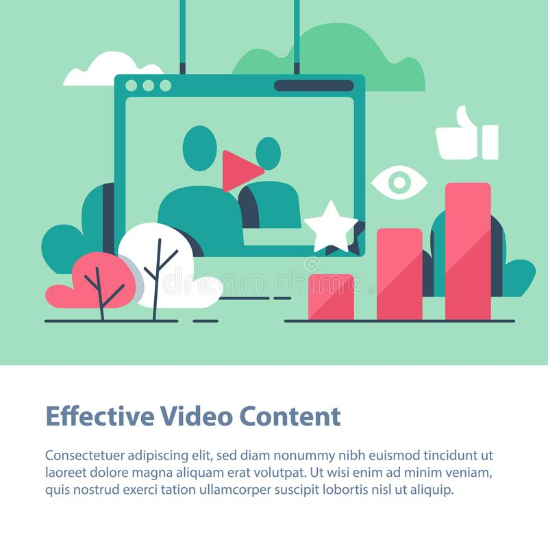 Video content, production and promotion, online film watching, more likes and views. Video content, vlog concept, production and promotion, entertainment online stock illustration