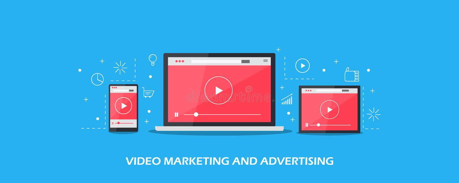 Video marketing, video advertising and promotion on digital devices. Flat design vector banner. Video content showing on digital devices, laptop, desktop royalty free illustration