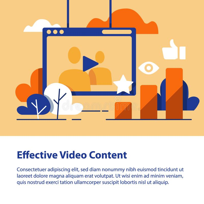 Video content, production and promotion, online film watching, more likes and views. Video content, vlog concept, production and promotion, entertainment online vector illustration